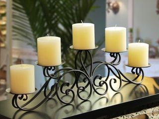Adeco Trading Iron Candelabra Candle Holder  Set of 2