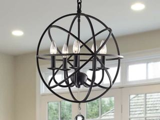 Notus Black finish Metal and Crystal 5 light Foyer Pendant
