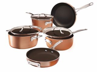 Gotham Steel StackMaster 8 Piece Aluminum Ultra Nonstick Cast Textured Ceramic Coating Cookware Set  Brown