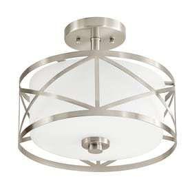 Kichler lighting Edenbrook 11 38 in W Brushed Nickel Frosted Glass Semi Flush Mount light