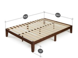 Espresso Wood Platform Bed Frame   Queen