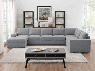 Tifton light Gray linen Reversible Corner Sofa