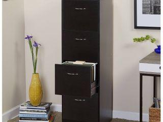 Wilson 4 Drawer Wood Vertical lockable Filing Cabinet  Black