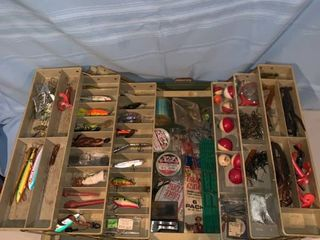 Green Plano Tackle Box Full of lures location Garage Shelf B