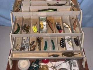 Brown Plano 6303 Tackle Box Full of Fishing lures location Garage Shelf B