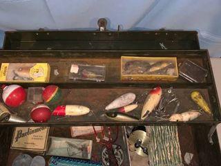 Green Metal Box Full of Fishing lures location Garage Shelf B