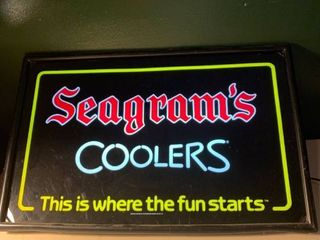 Seagrams Wine Coolers lighted Sign Works location Basement BR