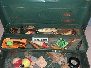 Green Metal Tackle Box Full of Fishing lures location Garage Shelf B