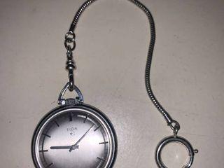 Vintage Elgin Pocket Watch Sterling Chain location Bar