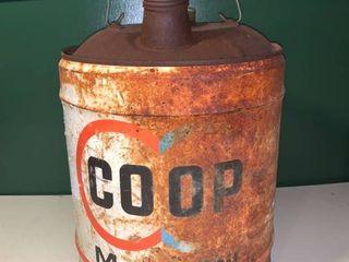 Vintage COOP Motor Oil 5 Gallon Can location Garage