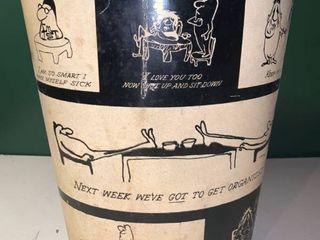 Vintage Decoware Trash Can Cartoons by Herb Gardner 1958 location Garage