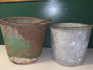 Pair of Nice Rusty Pails location Garage