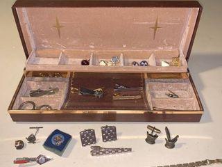 Small Jewelry lot Masonic Items Tie Bars Cuff links location Bar