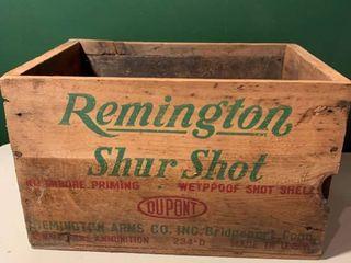 Vintage Remington Shur Shot Wooden Ammunition Crate location Shelf 2