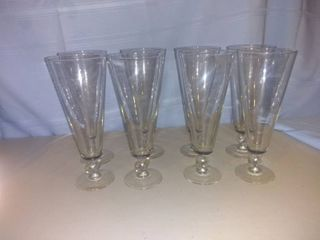 lot Of 8 Vintage Stemmed Football Glasses