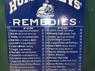 Humphreys Remedies Enameled Metal Sign location 1D