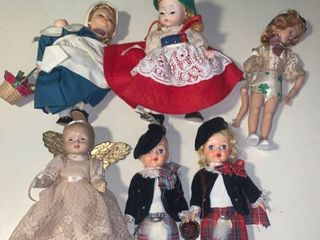 lot of 6 Vintage Dolls location Bar