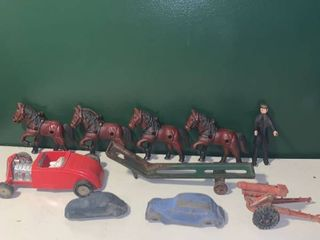 lot of Cast Iron Horses and Rubber Cars location Bar
