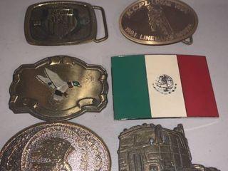 lot of 6 Vintage Belt Buckles location Bar
