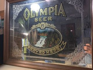 Vintage Olympia Beer Mirror location Basement BR