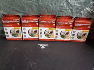 NIB lot of 5 Simple living Innovations 25ct ladderless light Clips with Pole Adapters