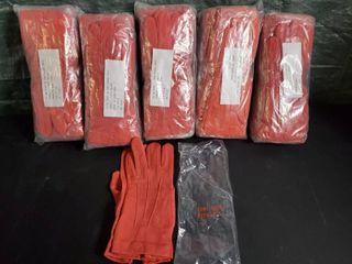 lot of 5 NEW Packs of 100  Nylon Handler Gloves  RED  12 in 1 pack