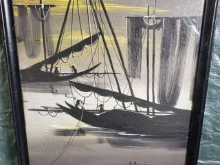 Oriental Fishing Boats  Wall Decor  Signed
