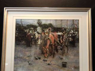 Richard Schmid Carriage in Front of Plaza Hotel Print Framed location Near Shelf 6