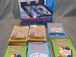 Game lot Rules Twist Card Games and Stow and Go Puzzle Mat location Shelf 1