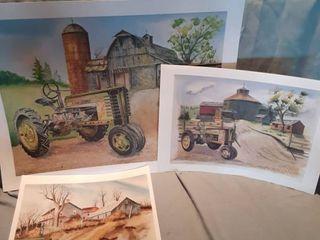 lot of 3 John Deere Tractor Paint Prints