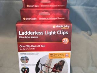 lot of 4 Boxes Simple living Innovations 25ct ladderless light Clips with Pole Adapters location Shelf 2