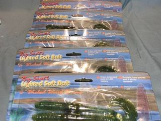Six 4 Packs of Ray Scotts lighted Soft Bait 6 Inch Wicked Wired Fishing Worms location Shelf 2