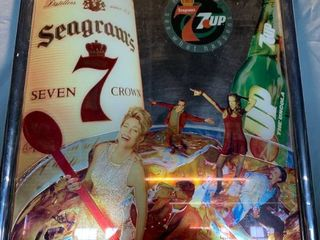 Seagrams and 7 UP Framed Mirror Sign location Shelf 2