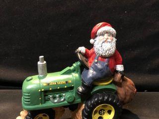 John Deere Christmas Santa Ceramic Figurine location Shelf 4
