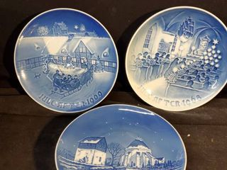 lot of 3 Hand Painted Plates from Denmark
