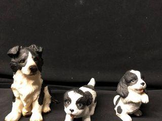 lot of 3 Border Collie Ceramic Figurines location Shelf 4