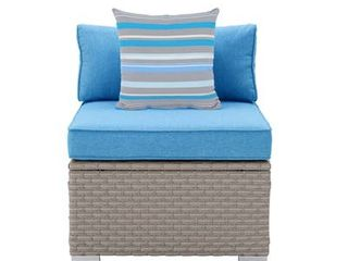 COSIEST Outdoor Furniture Add on Armless Chair for Expanding Wicker Sectional Sofa Set w Heritage Blue Thick Cushions  1 Stripe Woven Pillow for Garden