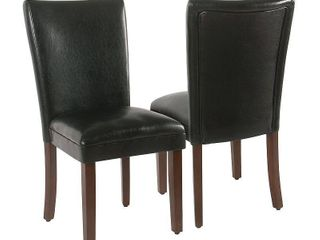 HOME POP Parsons Dining Chair   Black Faux leather   set of 2 Retail 141 99