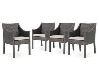 Antibes Outdoor Wicker Dining Chair with Cushions  Set of 4  by Christopher Knight Home Retail 461 49