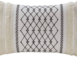 INK IVY Mid Century Modern Cotton Decorative Pillow Hypoallergenic Sofa Cushion lumbar  Back Support  12 x20  Imani Ivory