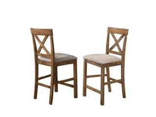 Janet Driftwood Transitional Counterheight Chairs Set of 2 RETAIl 210 58