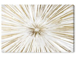 Oliver Gal  Sunburst New Dawn  Abstract Wall Art Canvas Print   White  Gold Retail 101 99