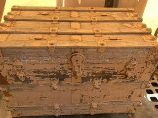 Neat Antique Wood Trunk location Front Storage