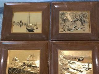 Set of 4 lionel Barrymore Gold Foil Etchings location Front Storage