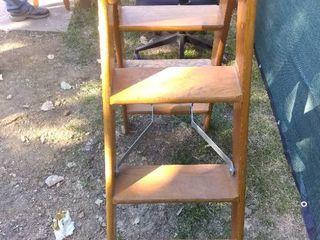 Nice Vintage Wooden Bell System Folding ladder