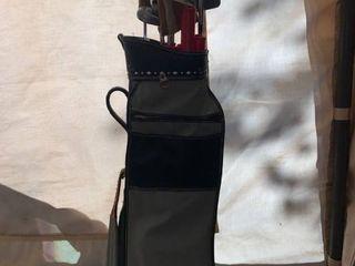 Set of Jimmy Demaret Golf Clubs and J  C  Higgins Bag location Front Storage