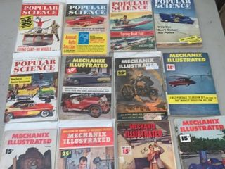 lot of 12 Vintage Popular Science and Mechanix Illustrated Magazines 40s 60s location Front Storage