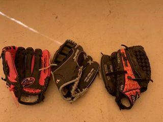 3 Childrens Baseball Gloves location Front Storage
