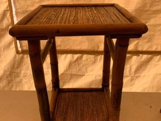 Bamboo End Table Plant Stand location Front Storage