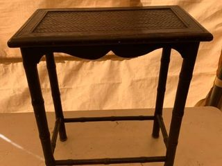Cane Side Table Plant Stand location Front Storage